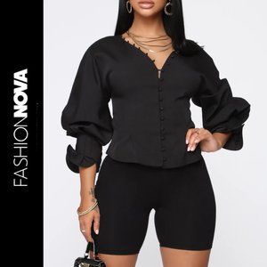 Fashion Nova Tops - Cardi B Fashion Nova Puff Sleeve Couture Blouse